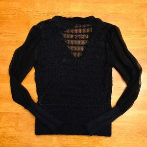 Tory Burch Sweaters - Tory Burch Black Sweater with Chiffon Sleeves